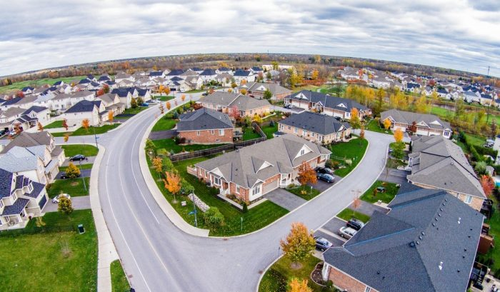 Overhead view of a neighborhood during the day